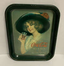 Coca Cola Green Metal Serving Tray Hamilton King Woman Delicious & Refre... - $37.39