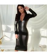 Sexy Long Sleeve Pu Leather Midi V Neck Slim Bodycon Dress - $49.99