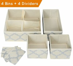 Set of 4 Organizer Bins with Dividers for Closet Dresser Drawer Inserts ... - $27.32 CAD