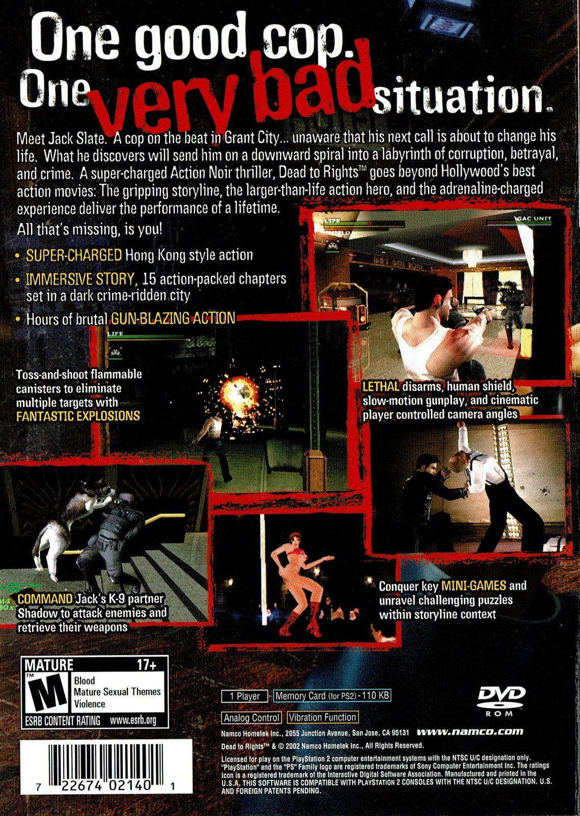Dead to Rights, PlayStation 2 (PS2) (NTSC-U/C USA Version) (SLUS20220GH) NAMCO