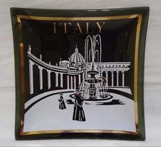 Houze Art Ashtray Italy Vatican Fountain Novelty Glass Dish Square Vinta... - $9.99