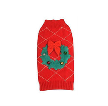 New York Ugly Holiday Sweater for Dogs - XS - XL - Soft fuzzy wreath bow... - $15.99+