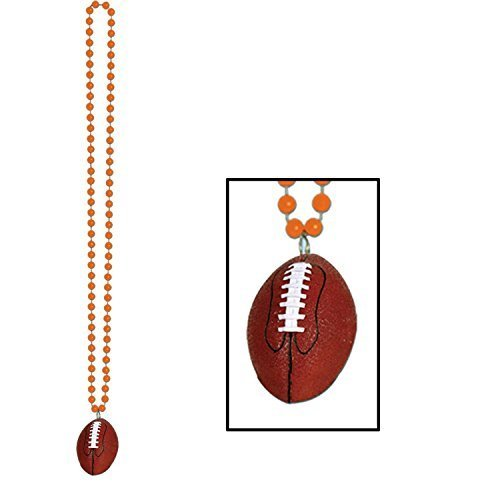 Club Pack of 12 Orange Beads with Football Medallion Party Necklaces 33""