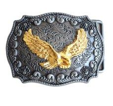 Golden Eagle Belt Buckle Handmade Rectangle Frame Western Belt Buckle fo... - $17.99