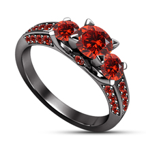 14k Black Gold Finish 925 Solid Silver Red Garnet Womens Wedding Engagem... - £58.65 GBP