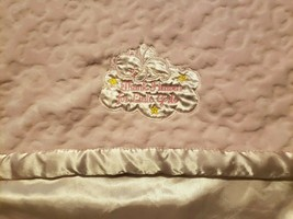 Baby Starters Blanket Pink Thank Heaven Little Girls Angel Bear Cloud Embossed - $29.68