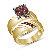 Christmas Gifts For Girls 925 Silver Round Red Garnet Girls Engagement Ring Set - $94.99