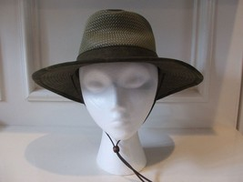 Canvas Olive Green Hat Straw Crown Size S Outback Henschel Hat Co Leather Cord - $34.64