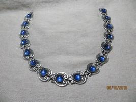"40's-50's ""Margot De Taxco""  Mexico 925 Sterling Blue Cabochon's Choker necklace - $495.00"