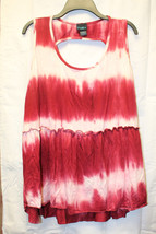 New Womens Plus Size 3X Coral Pink Tie Dye With Cool Keyhole Back Tank Top Shirt - $19.34