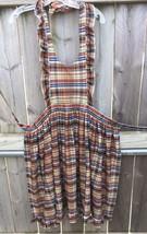 Ruffle Tie Large Full Apron Plaid Pioneer Boho Prairie Full Skirt Homema... - $12.19