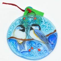 Winter Chickadee & Berry Tree Fused Art Glass Ornament Handmade in Ecuador