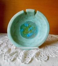 "Vtg Signed JARU California Pottery 6 1/4"" Round Ashtray Fused Crackle Glass - $29.70"