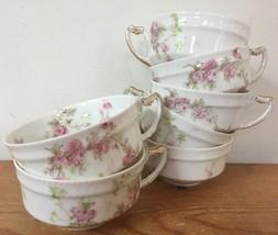 Set Of 7 Vtg Haviland Limoges Delicate Pink Rose Floral White Porcelain Tea Cups - $239.99