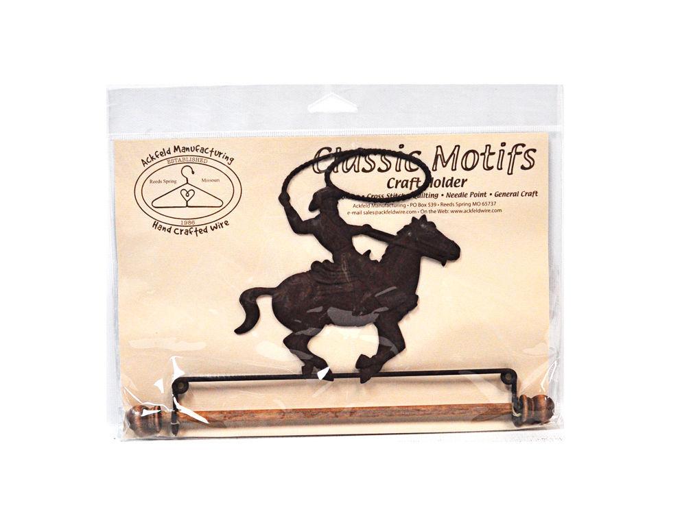Klassisch Motive Cowboy auf Pferd 19.1cm Stoff Halter mit Dübel