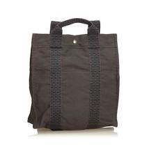 Pre-Loved Hermes Gray Dark Canvas Fabric Herline Backpack PM France - $391.77