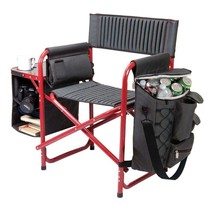 Outdoor Folding Chair Dark Grey and Red Fusion Portable Patio Ribbed Pad... - $78.26