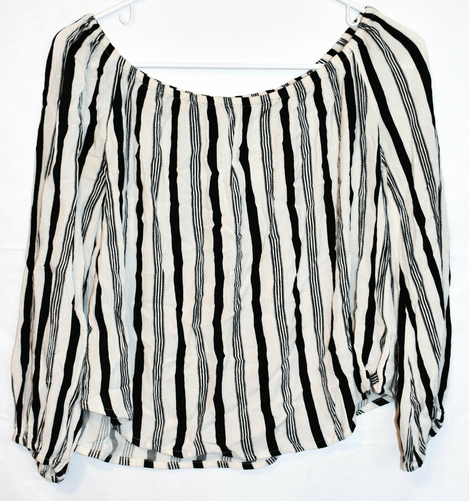 Billabong Women's Mi Amore Striped Off-the-Shoulder Woven Relaxed Fit Top Size S
