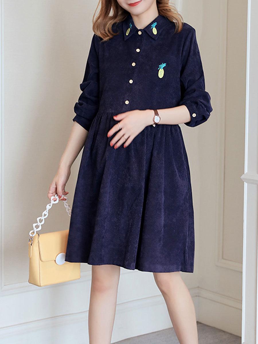 Maternity Dress Solid Color Long Sleeve Turn Down Collar Fashion Shirt Dress image 3