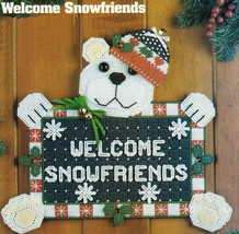 Plastic Canvas Xmas Bear Welcome Sign Santa Doorstop Tissue Cover Angels Pattern - $7.99