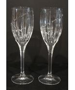 MIKASA UPTOWN WINE GLASSES STEMWARE Vertical & Swirl Cut ~ Set of 2 - $17.99
