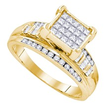 Yellow-tone Sterling Silver Princess Diamond Square Cluster Bridal Wedding Ring - £290.15 GBP