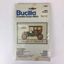 """Bucilla Counted Cross-Stitch """"Old Cadillac"""" Mini Picture 7"""" x 5"""" No. 49084 New - $5.94"""
