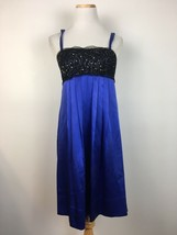 BCBG Maxazria Women's Blue Satin Beaded Dress with Black Lace Front Size 2 - $24.74
