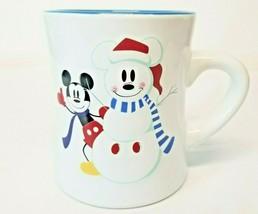 Large Disney Coffee Mug Raised Mickey & Snowman Christmas Winter White and Blue - $21.29