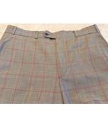Paul Fredrick 100% Wool Black/White/Red Glen Plaid Flat Front Cuffed Sla... - $18.70
