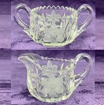 Vintage American Brilliant Cut Glass Cream & Sugar Set with Flower Pattern - $54.44