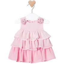 Mayoral Baby Girl 0M-12M Rose-pink Rosette Shoulder Triple Tier Social Dress