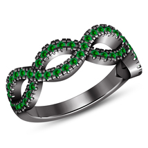 Green Sapphire Solid Sterling Silver 10k Black Gold Finish Engagement Ba... - $104.04 CAD