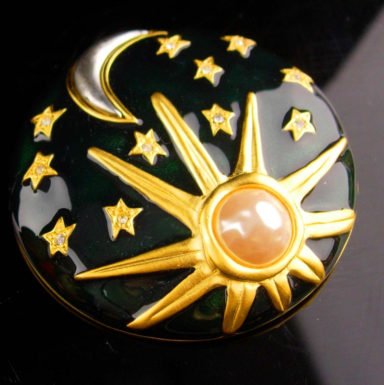 Karl Lagerfeld brooch - Sun Moon Stars Enamel Pin - Vintage couture jewelry - go