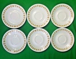 """6 Vintage Corelle Golden Butterfly Saucers Corning Ware 6-1/4"""" - $9.89"""