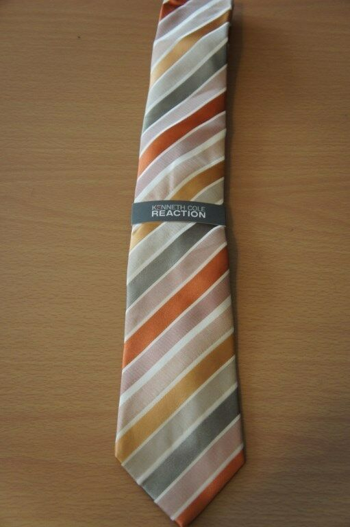 Kenneth Cole Reaction Men's Tie Orange Multi Prince Stripe Classic Necktie