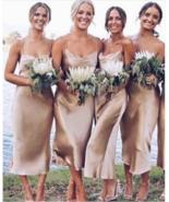 Sheath Spaghetti Straps Champagne Bridesmaid Dress Short Wedding Party D... - £62.35 GBP+