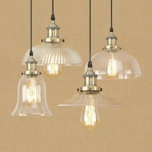 20th C. Clear Glass Filament Pendant E27 Light Ceiling Lamp Home Cafe Li... - £37.59 GBP+