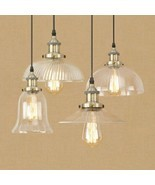 20th C. Clear Glass Filament Pendant E27 Light Ceiling Lamp Home Cafe Li... - £39.68 GBP+