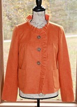 J. Crew Size 6 Fiona Jacket Orange Wool Style 96553 Herringbone Pockets Ruffle - $37.99