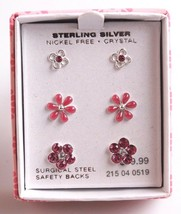 3 pairs Girls Sterling Silver 925 Pink Clear Crystal Flower Post Stud Earrings