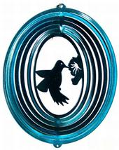 8 in stainless steel teal hummingbird USA 3D hanging yard wind spinner, spinners - $18.00