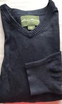 Eddie Bauer Men V-Neck Navy Sweater Cotton Cashmere Long Sleeve Large - $25.96