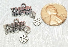 THINK SNOW WITH SNOWFLAKE DANGLE FINE PEWTER PENDANT CHARM - 20x22x1mm image 2