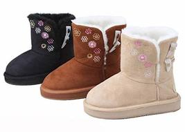 New Girls Winter Boots Faux Suede Warm Fur Lined Button Kids Childrens S... - $36.26