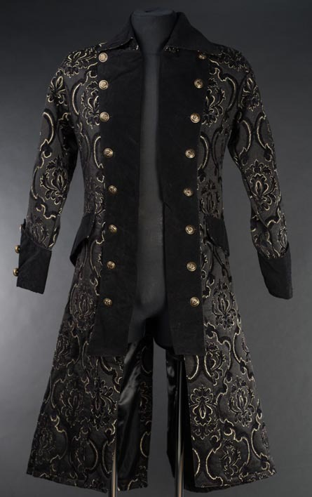 Primary image for Men's Long Charcoal Brocade Pirate Jacket Victorian Goth Vampire Officer Coat