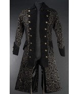 Men's Long Charcoal Brocade Pirate Jacket Victorian Goth Vampire Officer... - $139.99
