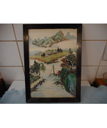 Vintage Chinese Painting  On Silk  Mountains and Man Fishing - $47.20