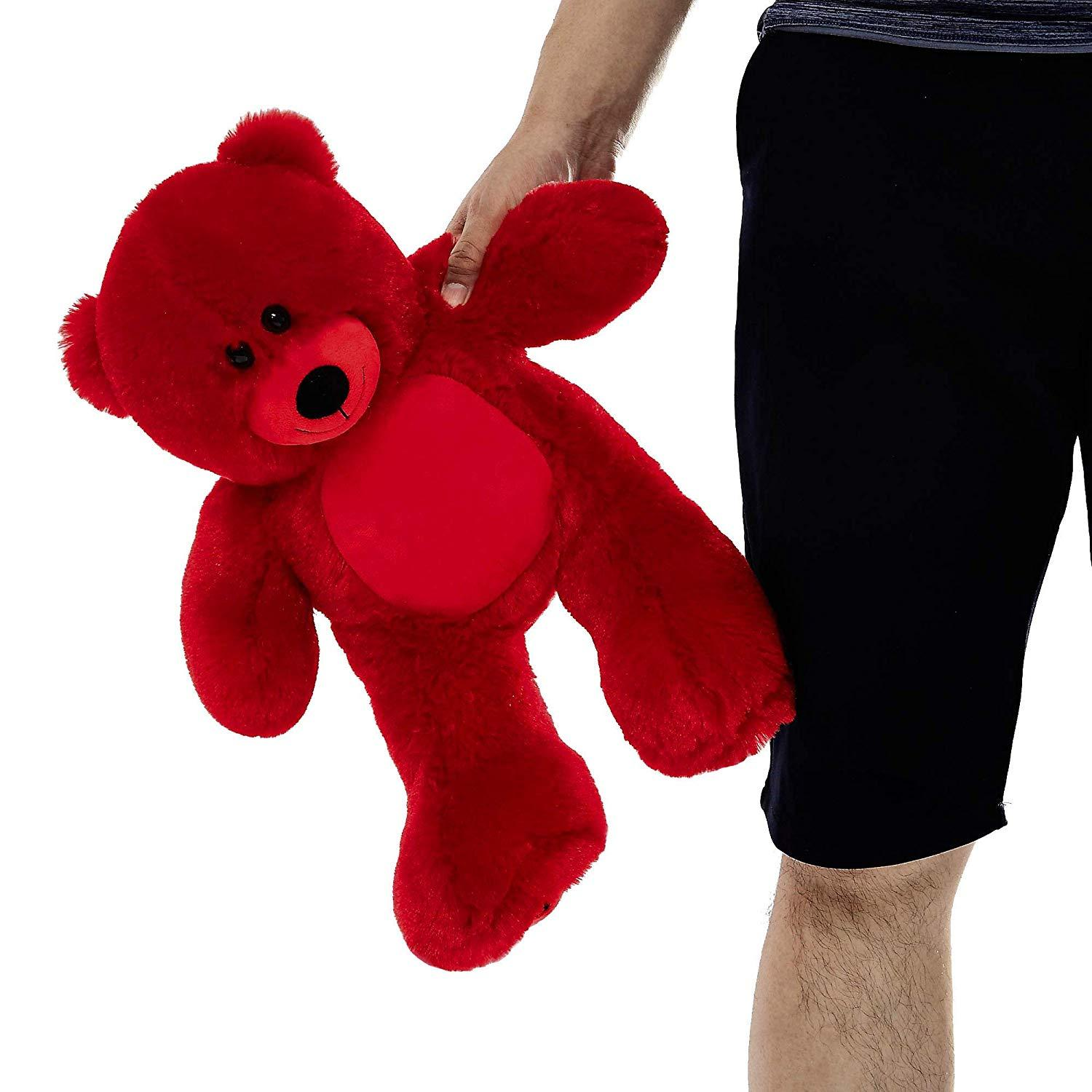 "WOWMAX Red Teddy Bear 10"" Sitting Height Small Cute Stuffed Animal Plush Toy"