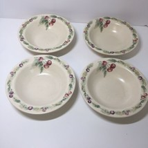 """4 Soup Cereal Bowls Pfaltzgraff Jamberry Fruit 7.5"""" Cherries - $18.37"""